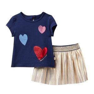 NWT KateSpade Tee & Metallic Skirt Set